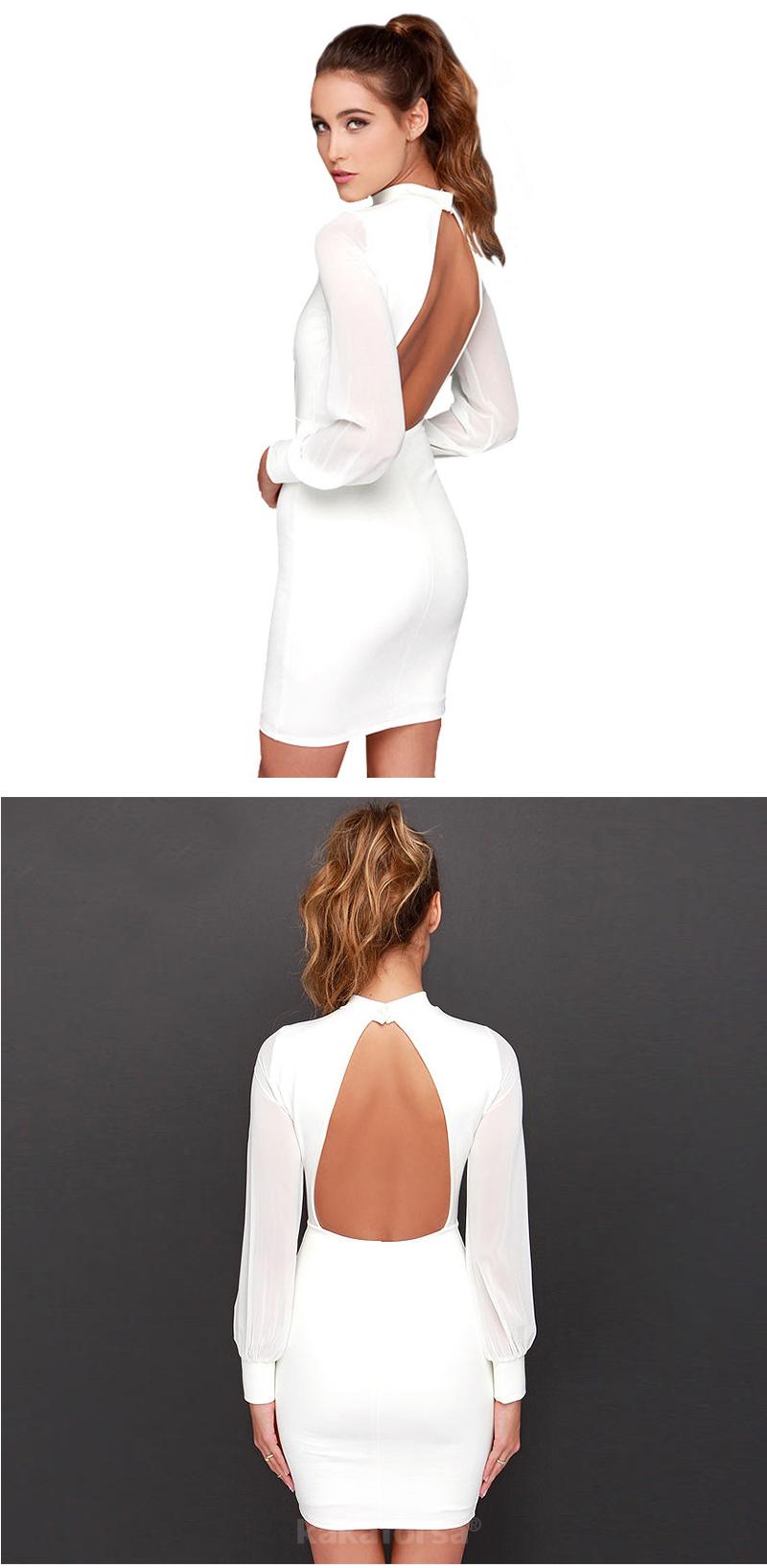 Kakaforsa Women Sexy Backless White Dress Casual Plus Size Slim Fit Bodycon Short Dress Long Sleeve O-Neck Mini Party Dresses 13