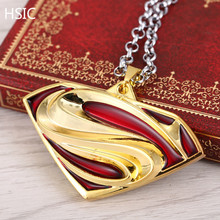 HSIC Dropshipping Superhero Superman Metal Necklace S Logo Pendant Cosplay Accessories Jewelry for Men Women Christmas Gifts 599