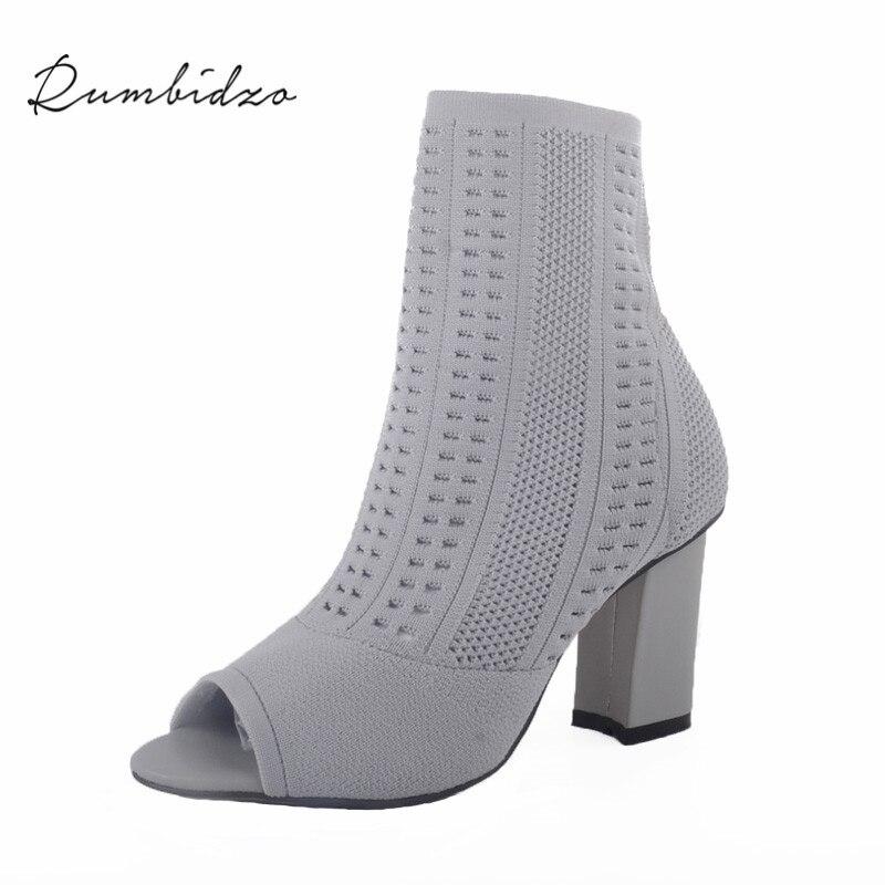 Rumbidzo Women Boots 2017 New Fashion Woman Summer Winter Boots Peep Toe Thick Heel High Heel Knitting Bootie Feminine<br>