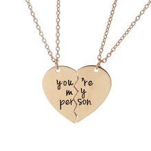 1 Pair You Are My Person Broken Heart Pendant Necklace Antique Letter Engraved Lover Couples Necklaces Gift