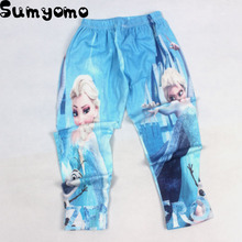 2017 Girls Leggings Kids Trousers Children Snow Queen Snowflake Spring Girls Pants Long Trousers Cartoon Elsa Anna Pants(China)