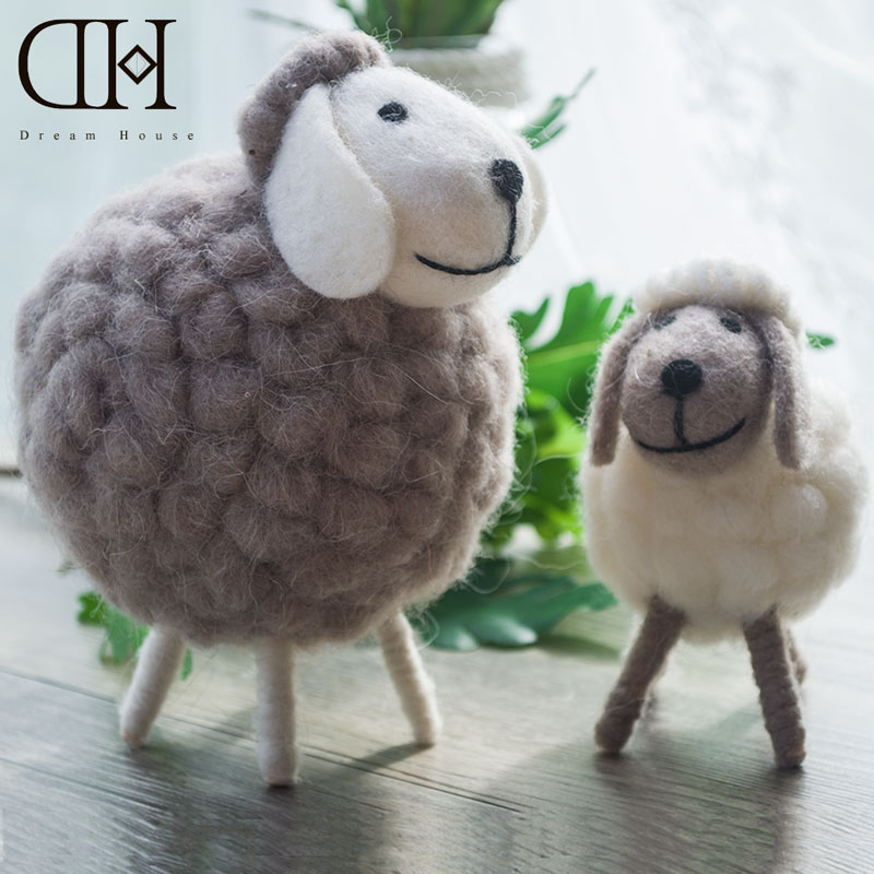 Genuine Dream House DH cute mini sheep wool miniature sheep craft figurine home decoration accessories christmas gift(China (Mainland))