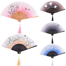 Chinese Silk Flower Butterfly Folding Hand Fan Pocket Fan Birthday Party Decoration Favors Gift Women Dancing Hand Fans Decor(China)