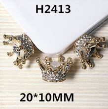 Free Shipping 20*10MM 3D Gold Tone Alloy Rhinestone Crystal Button Stickers Royal Crown Patch charm Fit for Girls Hair Jewelry(China)
