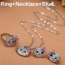 Wholesale Crystal Rhinestone Children Jewelry Set Hello Kitty Ring Earring Necklace Set