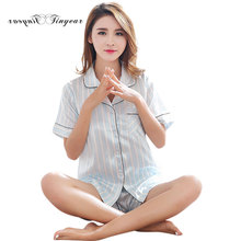Tinyear New chinese silk pajamas Striped Short sleeve Big size M-XXL Adult girl Night suit 2 colors optional