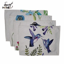 Cotton Linen Cute Bird Hand Drawing Table Dishware Place Mats For Dinner  Accessories Cup Wine mat
