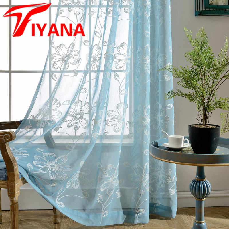 Rustic Flower Leaves Curtains Voile Tulle Room Sheer Window Drapes For Living Room Cafe Kitchen Home Decor Singel Panel P003Z30