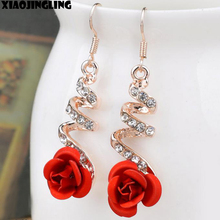 XIAOJINGLING Korea Fashion Lovely Temperament Crystal Red Rose Flower Women Dangle Drop Earring for Wedding/Party Bridal Earring