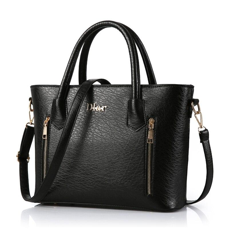2017 Women Solid Totes With Zipper Top-Handle Handbags PU Leather Messenger Bags Famous Brand Crossbody Pouch Bolsa Feminina<br><br>Aliexpress