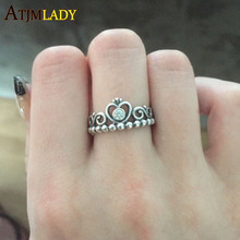 Hot Sale New 2017 High Quality 100% 925 Sterling Oxidized Vintage 1960 Old Age Women Girl Princess Crown Ring(China)
