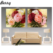 2017 Diy 5D diamond painting cross stitch Peony flowers square diamond kits Diamond Embroidery Mosaic House Decoration gift