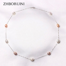 ZHBORUINI Fashion Pearl Necklace 925 Sterling Silver Pearl Jewelry Natural Freshwater Pearl Choker Pendants Jewelry For Women(China)