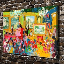A1821 LeRoy Neiman Abstract Exhibition Crowd. HD Canvas Print Home decoration Living Room bedroom Wall pictures Art painting(China)