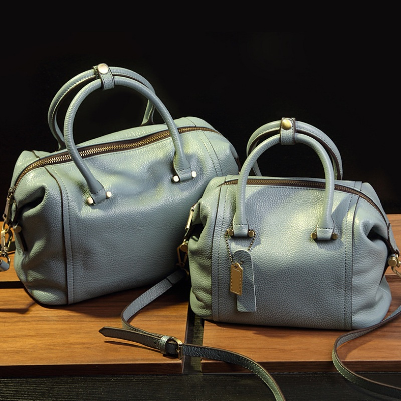 European Women Litchi Split Leather Boston Bag Ladies Fashion Handbag Tote Sling Shoulder Bags Designer Female Messenger Bag<br>