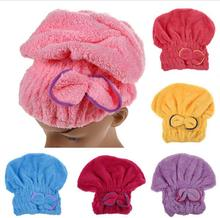 1PCS Home Textile Microfiber Solid Hair Turban Quickly Dry Hair Hat Wrapped Towel Bath 5 Colors Available