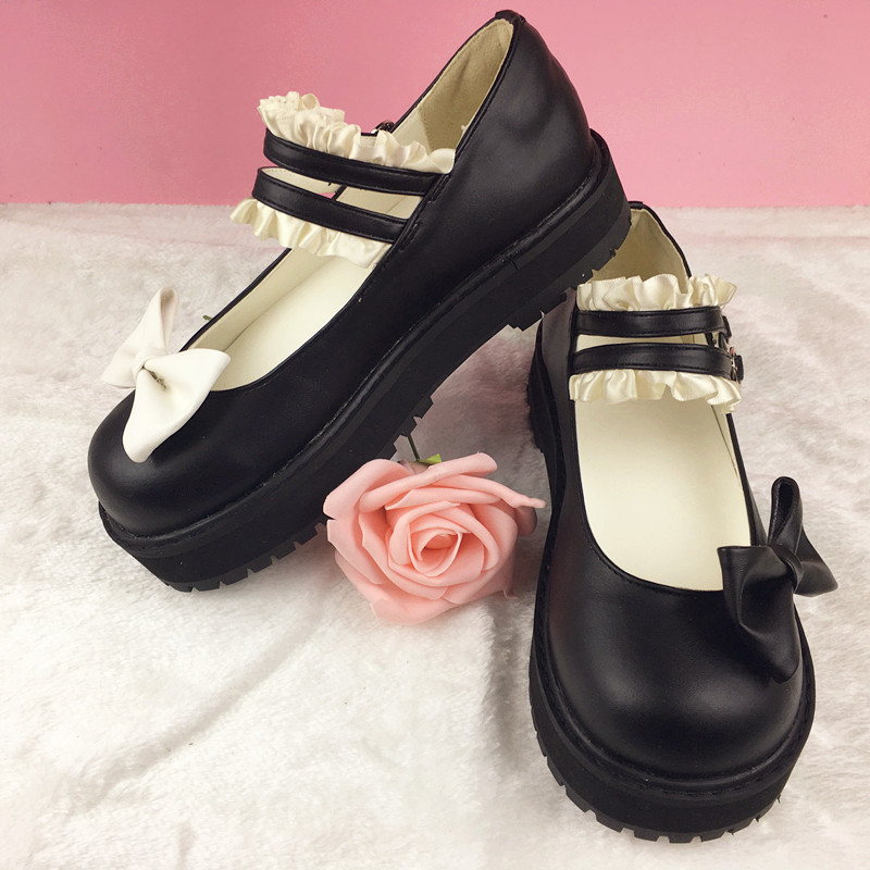 Women Wedge Heel Bow Shoes With Ruffles New 2017 Japanese Style Round Toe PU Leather Lolita Wedges Princess Royal Cos Shoes <br>