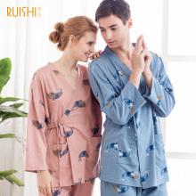 Spring and autumn kimono lace cardigan couple pajamas cotton long sleeved pants(China)