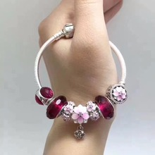 2017 new arrive SUMMER PROmotion Luxury red collection flower european women 925 sterling silver charm bracelet snake chain