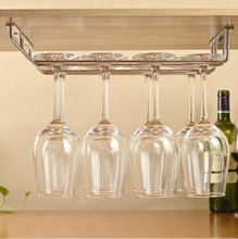 1pcs Wine cup wine glass holder Hanging Drinking Glasses Stemware Rack Under Cabinet Storage Organizer Double Row for Household