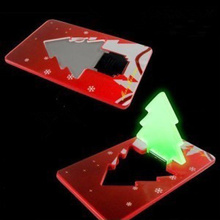 Pocket Folding Christmas Tree Shape LED Light Credit Card For Holiday 2015 hot sale new(China)
