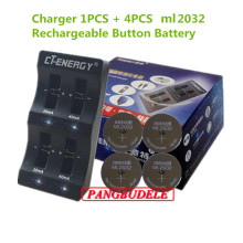High Quality Universal USB Interface 4-Slot Charger 1PCS + 4PCS Rechargeable Button Battery ml2032 Button Battery