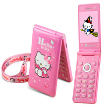 KUH D10 Flip Dual SIM Card GPRS Breath Light touch screen Cell Phone women girl MP3 MP4 cartoon hello kitty mobile phone P297