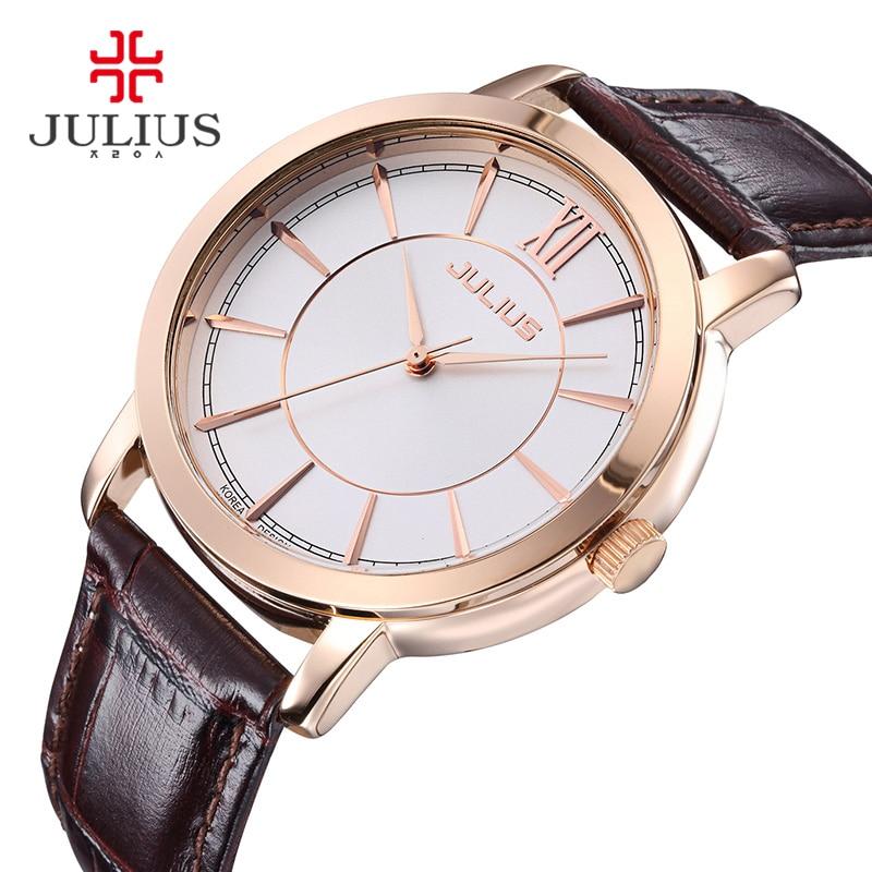Julius Watch Woman Elegant Round Case Leather Strap Simple Silver Rose Gold Blue Geneva Business ladies Whatch Clock 2017 JA-808<br><br>Aliexpress