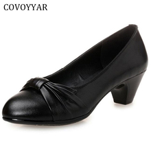 COVOYYAR 2017 Bowtie Genuine Leather Black Shoes Women Spring Autumn Thick Med Heels Office Work Shoes Size 34-43 WHH561