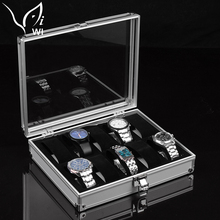 Collection 10 Grids Watch Display Luxury watch box Jewelry Storage Case Aluminium Square Organizer holder Slots Gift For Husband(China)