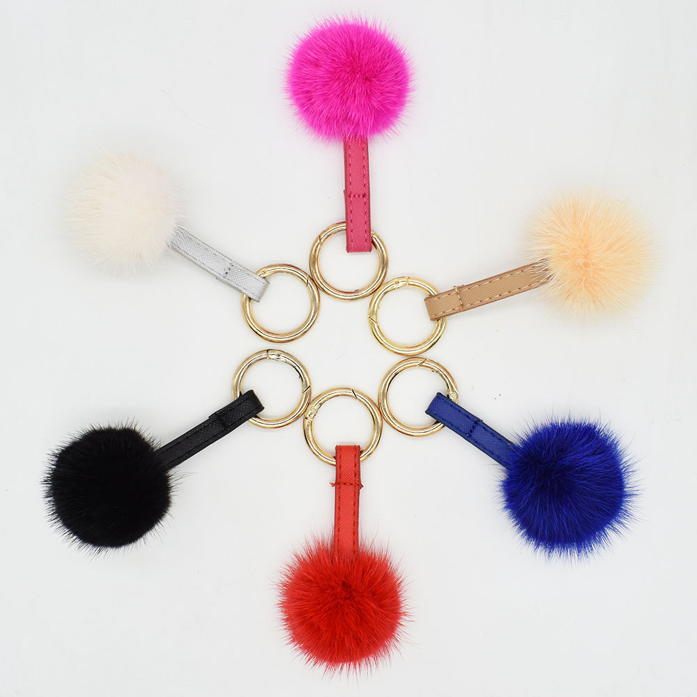 mink fur ball keychain colors 1