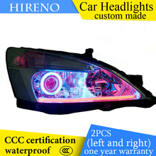 Hireno custom Modified Headlamp for Honda Accord 2003-07 Headlight Assembly Car styling Angel Lens Beam HID Xenon 2 pcs(China)