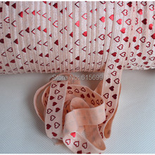 "5/8"" petal peach color FOE printed foil heart as Valentine FOE-Factory direct wholesale custom print Ribbon(China)"