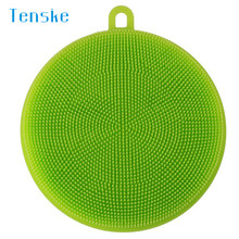 kitchen Scouring Pads Silicone Dish Washing magic sponge Scrubber Kitchen Cleaning antibacterial Tool u70906(China)