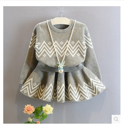 new 2017 spring autumn kids clothing fashion grey baby girls clothes sets long-sleeve sweater + skirt children tracksuit<br><br>Aliexpress