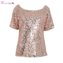 Women Summer Shiny Causal Sequin Top Tank Three Quarter Sleeve Blouse Bling Vest Shirt 4(China)