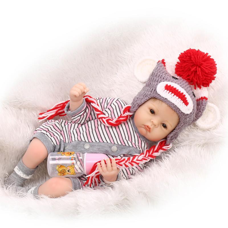 20 inch 52 cm  baby reborn Silicone dolls, lifelike doll reborn babies for  Childrens toys Fashion stripe dress cute doll<br><br>Aliexpress