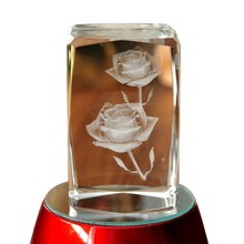 Paperweight 3D Laser Etched Crystal crafts Rose Flower Figure Display Light Base Decor home decor holiday decoration&gift Mascot