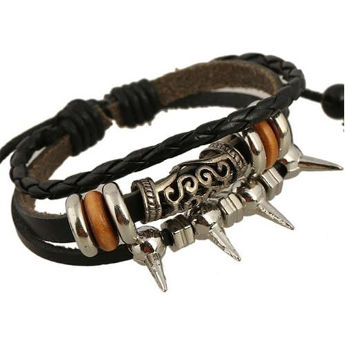 Панк-рок стиль посеребренная спайк заклепки браслет обертывание леди браслет подлинная черная кожа плетеный личность браслет(China (Mainland))