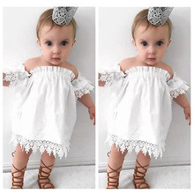 Baby Girl White Dress Casual Kids Baby Girl Dress Princess  Off shoulder Party Lace Strapless boob tube Top Tee Sundress Costume
