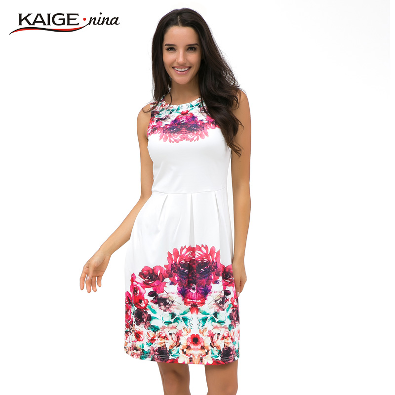 KaigeNina New Fashion Hot Sale Women summer style print dress women sleeveless party Maxi Tropical Floral