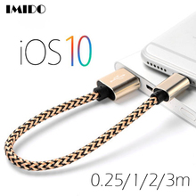 8 Pin USB Cable Nylon Braided Charge & Data USB Short Cord Wire for iPhone 7/6s/6 plus/6s plus/SE iPad Mini Air iPod Nano Touch3