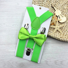 Adjustable Elasticated 13 Colors Slim Boys BowTie With Metal Clips Child Ties Polyester Kids Suspenders Bowtie the Bow Tie Set(China)