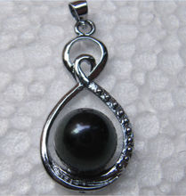 free shipping very beautiful 9-10 mm natural black pearl pendant necklace 16-18 inch a()