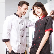 Classical stand collar long sleeve and short sleeve chef jacket restaurant and hotel cotton cook suit