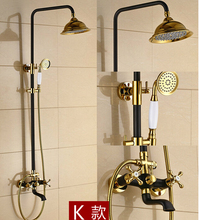 Luxury High Quality Gold & black Bathroom Rainfall Shower Set, Shower Faucet Euro-style Bath & Shower Faucet Set, Wall Mounted