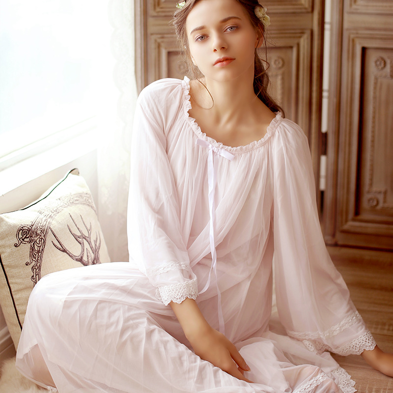 Maternity Sleepwear Pijama Retro Palace Nightgown Women V Neck Lace Cotton Long Sleeved White Pajamas Dress for Pregnant CC627<br>
