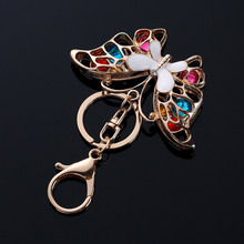 Cute Butterfly Crystal KeyChain Key Chain Holder Ring Car Handbag Pendant Keyring Jewelry Gifts @M23