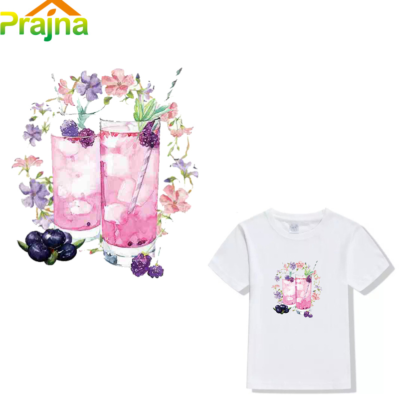 Prajna Iron on Transfers For T Shirt Cheap Flower Patch Fabric Hot Heat Press Transfer Paper Vinyl Sticker For Clothes Applique(China)
