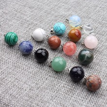 Buy 5PCS/Lot Mixed Colorful Natural Stone Round Ball Charms Pendants Jewelry Findings Fit DIY Handmade Jewelry Making Crafts for $2.50 in AliExpress store